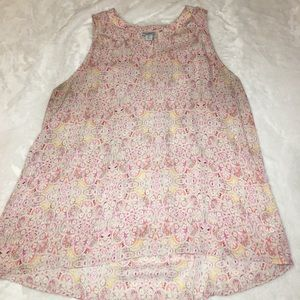 Paraphrase Pink Floral Sleeveless Top Size Large